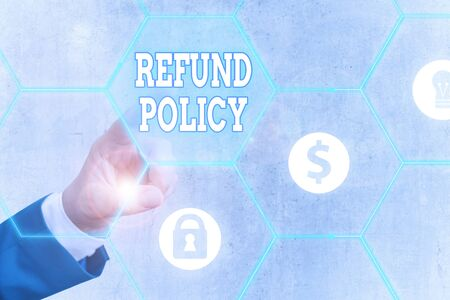 Word writing text Refund Policy. Business photo showcasing refund or exchange defective merchandise previously buy Reklamní fotografie