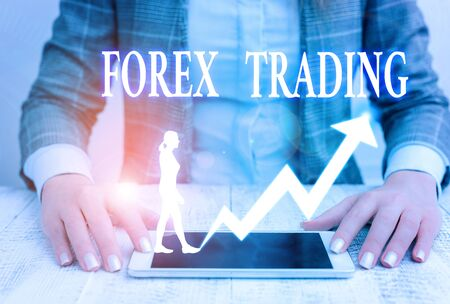 Writing note showing Forex Trading. Business concept for exchange of currencies between two or more countries Stock Photo
