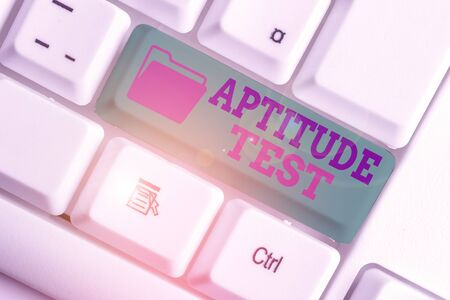 Text sign showing Aptitude Test. Business photo text designed to determine a demonstrating ability in a particular skill