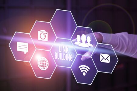 Writing note showing Link Building. Business concept for process of acquiring hyperlinks from other website to your own Stock Photo