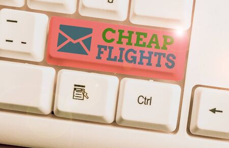 Word writing text Cheap Flights. Business photo showcasing costing little money or less than is usual or expected airfare