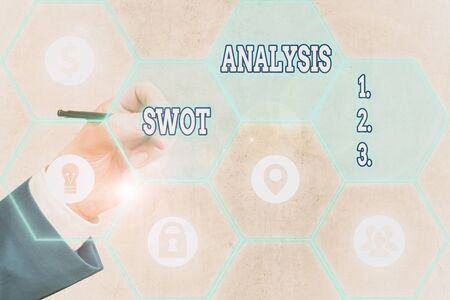 Conceptual hand writing showing Swot Analysis. Concept meaning framework used to evaluate a company competitive position