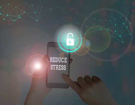 Text sign showing Reduce Stress. Business photo showcasing to relieve the tension and engage to quality lifestyle