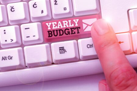Writing note showing Yearly Budget. Business concept for A plan for a company expenditures for a fiscal year