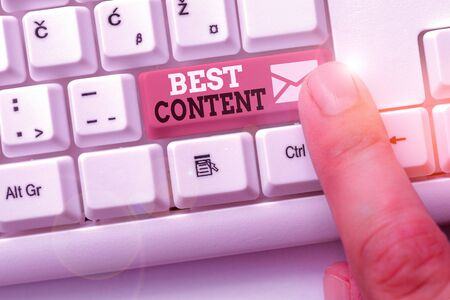 Writing note showing Best Content. Business concept for Information and experiences that are directed to the audience