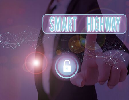 Writing note showing Smart Highway. Business concept for Highways that converge the highly advanced road technologies