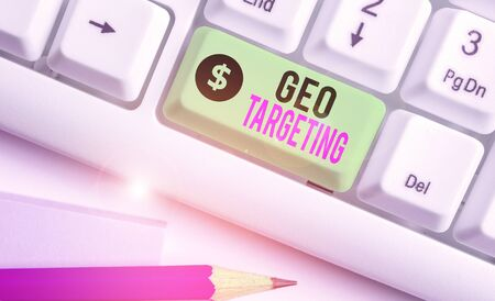 Writing note showing Geo Targeting. Business concept for method of determining the geolocation of a website visitor