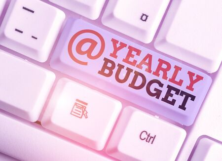 Handwriting text writing Yearly Budget. Conceptual photo A plan for a company expenditures for a fiscal year