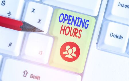 Handwriting text Opening Hours. Conceptual photo the time during which a business is open for customers Stock Photo