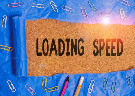 Word writing text Loading Speed. Business photo showcasing time takes to download and display the content of a web page