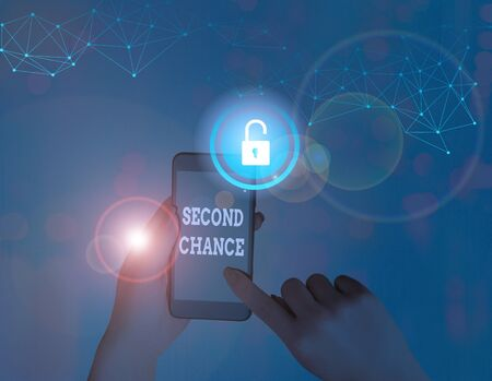 Text sign showing Second Chance. Business photo showcasing opportunity to try something again after failing one time Stock Photo