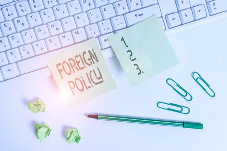 Handwriting text writing Foreign Policy. Conceptual photo a government strategy in dealing with other nations Square green note paper with pencil on the white background