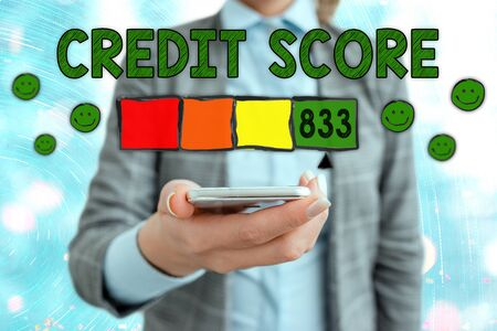 Conceptual hand writing showing Credit Score. Concept meaning Report credit score for banking application to asses risk based on the behaviours of the user or client. Assessing credit score for mortgage or loan from the bank.