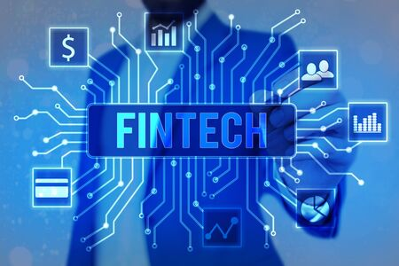 Handwriting text Fintech. Conceptual photo Financial technology concept. Enabling through Tech and Fin FinTech to build system and concepts without banks.