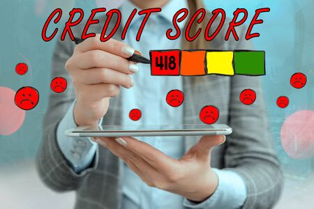 Text sign showing Credit Score. Business photo text Report credit score for banking application to asses risk based on the behaviours of the user or client. Assessing credit score for mortgage or loan from the bank.