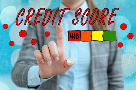 Handwriting text writing Credit Score. Conceptual photo Report credit score for banking application to asses risk based on the behaviours of the user or client. Assessing credit score for mortgage or loan from the bank.