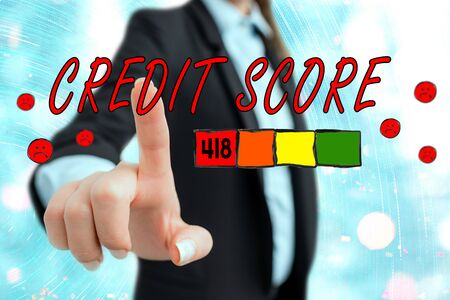 Writing note showing Credit Score. Business concept for Report credit score for banking application to asses risk based on the behaviours of the user or client. Assessing credit score for mortgage or loan from the bank.