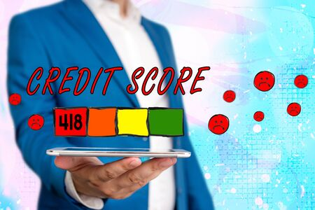 Text sign showing Credit Score. Business photo showcasing Report credit score for banking application to asses risk based on the behaviours of the user or client. Assessing credit score for mortgage or loan from the bank.