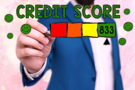 Handwriting text Credit Score. Conceptual photo Report credit score for banking application to asses risk based on the behaviours of the user or client. Assessing credit score for mortgage or loan from the bank.