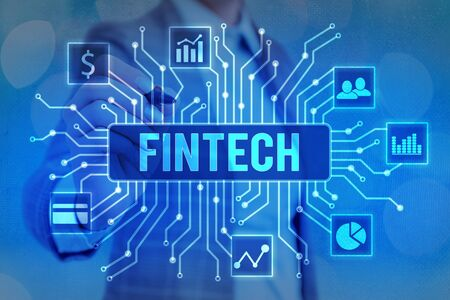 Word writing text Fintech. Business photo showcasing Financial technology concept. Enabling through Tech and Fin FinTech to build system and concepts without banks.