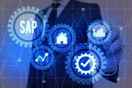 Word writing text SAP. Business photo showcasing SAP Business process automation software. ERP enterprise resources planning system concept on virtual screen. AI. Artificial intelligence. Stock Photo