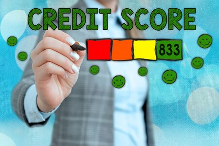 Word writing text Credit Score. Business photo showcasing Report credit score for banking application to asses risk based on the behaviours of the user or client. Assessing credit score for mortgage or loan from the bank. Imagens