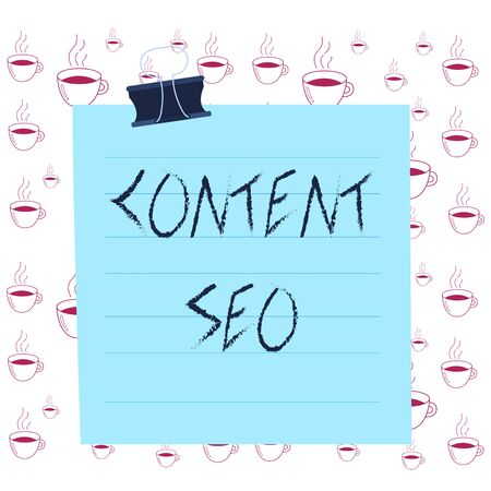 Writing note showing Content Seo. Business concept for creating webpage content to rank high in the search engines Paper lines binder clip suare notebook color background
