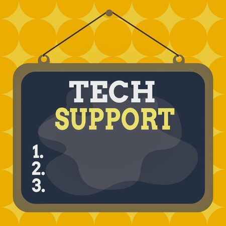 Writing note showing Tech Support. Business concept for advising and troubleshooting service provided by a manufacturer Asymmetrical uneven shaped pattern object multicolour design