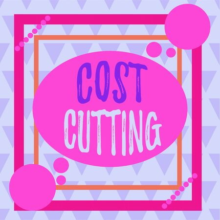 Conceptual hand writing showing Cost Cutting. Concept meaning actions taken to reduce the amount that is spent on a service Asymmetrical format pattern object outline multicolor design