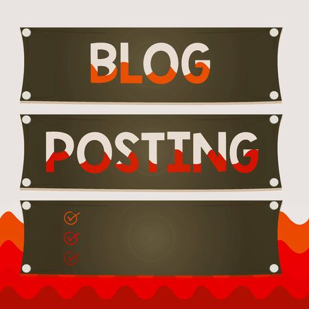 Conceptual hand writing showing Blog Posting. Concept meaning regular record of someone s is thoughts opinions or experiences Wooden panel attached nail on colorful background plank wood Stock Photo