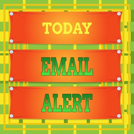 Text sign showing Email Alert. Business photo showcasing emails auto generated nd sent to designated recipients Wooden panel attached nail colorful background rectangle lumber plank wood Banco de Imagens