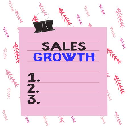 Handwriting text writing Sales Growth. Conceptual photo ability to increase revenue over a fixed period of time Paper lines binder clip cardboard blank square notebook color background