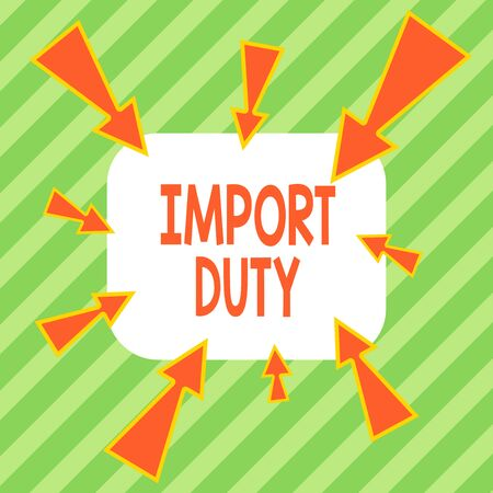 Writing note showing Import Duty. Business concept for tax imposed by a government on goods from other countries Asymmetrical uneven shaped pattern object multicolour design Archivio Fotografico