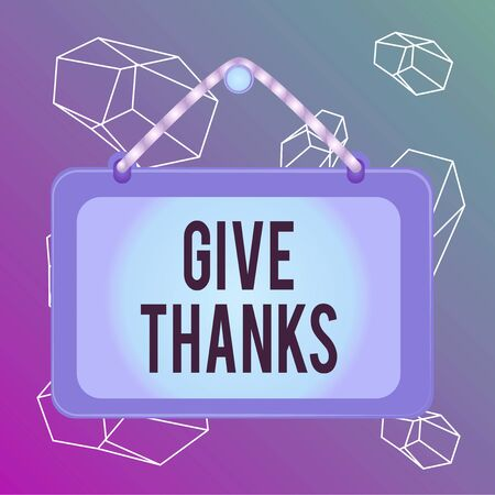 Word writing text Give Thanks. Business photo showcasing express gratitude or show appreciation Acknowledge the kindness Board fixed nail frame string striped colored background rectangle panel Stock Photo