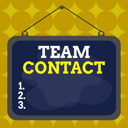 Writing note showing Team Contact. Business concept for The interaction of the individuals on a team or group Asymmetrical uneven shaped pattern object multicolour design
