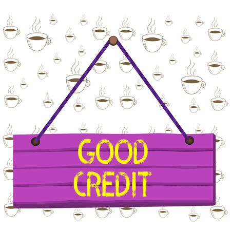 Writing note showing Good Credit. Business concept for borrower has a relatively high credit score and safe credit risk Wood plank nail pin string board colorful background wooden panel fixed