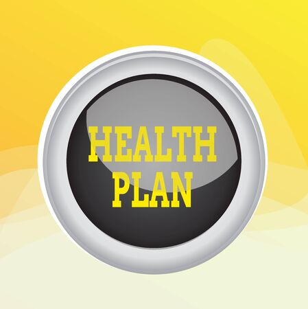 Writing note showing Health Plan. Business concept for entity that provides coverage of designated health services Colored sphere switch center background middle round shaped Stockfoto