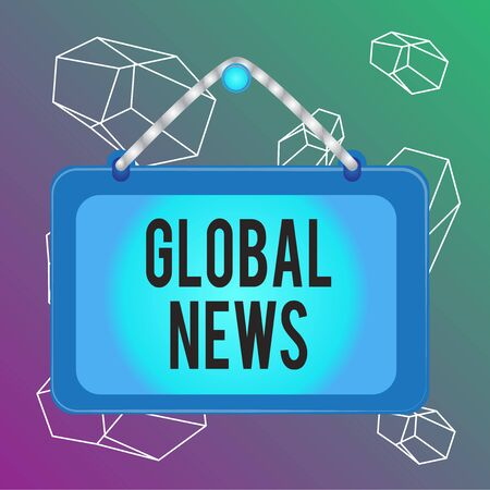 Word writing text Global News. Business photo showcasing world noteworthy information about recent or important events Board fixed nail frame string striped colored background rectangle panel Stock Photo