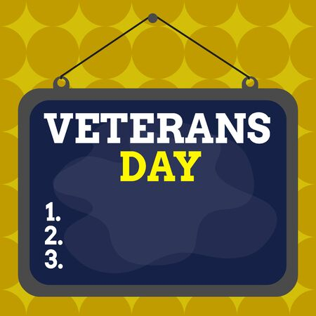 Writing note showing Veterans Day. Business concept for a public holiday to honour US veterans and victims of all wars Asymmetrical uneven shaped pattern object multicolour design