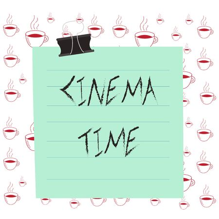 Writing note showing Cinema Time. Business concept for which entertainment such showing movie scheduled to start Paper lines binder clip suare notebook color background 写真素材