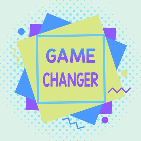 Writing note showing Game Changer. Business concept for way that effects a major shift in the current manner of doing Asymmetrical format pattern object outline multicolor design