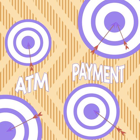 Text sign showing Atm Payment. Business photo showcasing Cashless Payment made through portable electronic devices Arrow and round target inside asymmetrical shaped object multicolour design