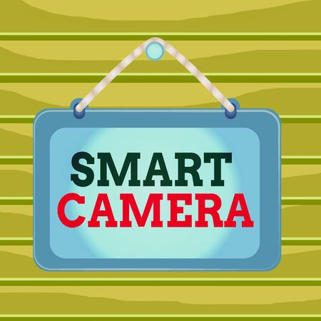 Conceptual hand writing showing Smart Camera. Concept meaning individual image processing systems designed to automate Board fixed nail frame colored background rectangle panel