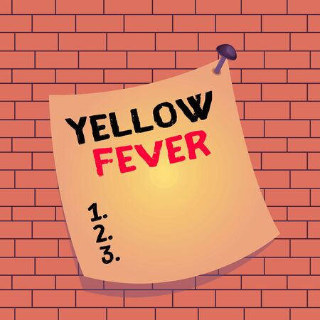 Text sign showing Yellow Fever. Business photo text tropical virus disease affecting the liver and kidneys Curved reminder paper memo nailed colorful surface stuck blank pin frame Foto de archivo