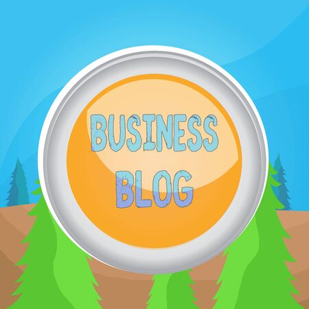 Word writing text Business Blog. Business photo showcasing Devoted to write about subject matter related to the company Circle button colored sphere switch center background middle round shaped Banco de Imagens
