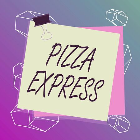 Word writing text Pizza Express. Business photo showcasing fast delivery of pizza at your doorstep Quick serving Paper stuck binder clip colorful background reminder memo office supply Standard-Bild