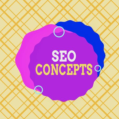 Writing note showing Seo Concepts. Business concept for a process of increasing the quality of website traffic Asymmetrical format pattern object outline multicolor design