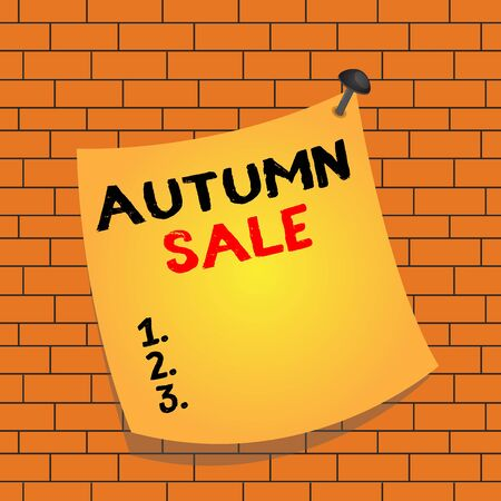 Text sign showing Autumn Sale. Business photo text having great discounts products on season after summer Curved reminder paper memo nailed colorful surface stuck blank pin frame