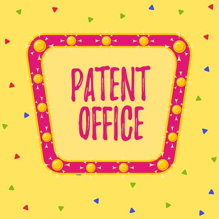 Writing note showing Patent Office. Business concept for a government office that makes decisions about giving patents Asymmetrical uneven shaped pattern object multicolour design