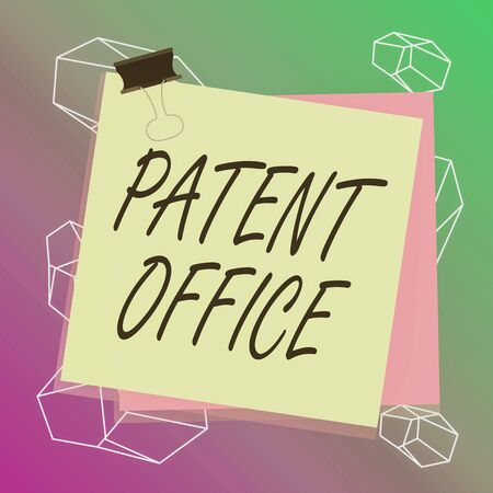 Word writing text Patent Office. Business photo showcasing a government office that makes decisions about giving patents Paper stuck binder clip colorful background reminder memo office supply